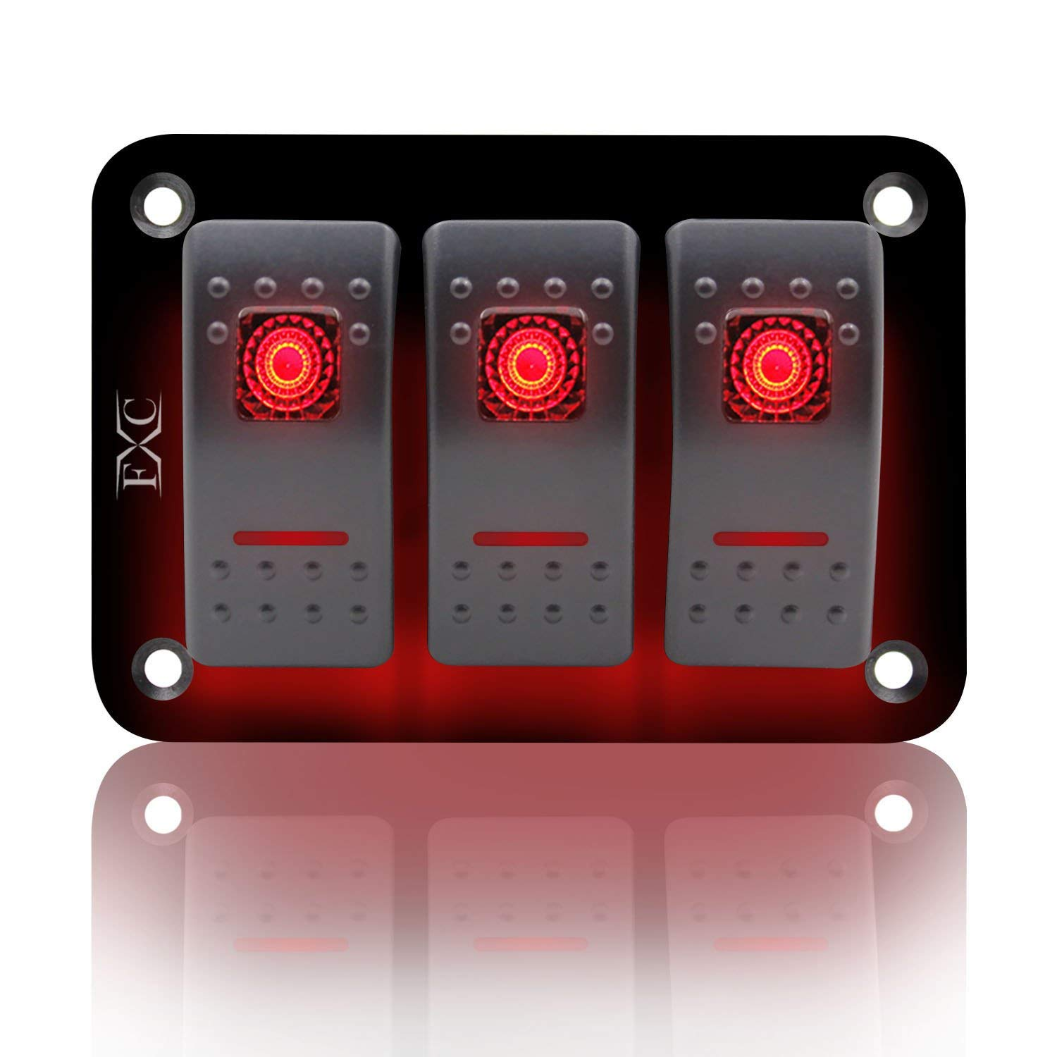 FXC Rocker Switch Aluminum Panel 3 Gang Toggle Switches Dash 5 Pin ON/OFF 2 LED Backlit for Boat Car Marine Red