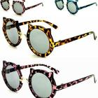 Kid Hot Sales Round Cat Ear Sunglasses Pink Brown Blue Sun Glasses