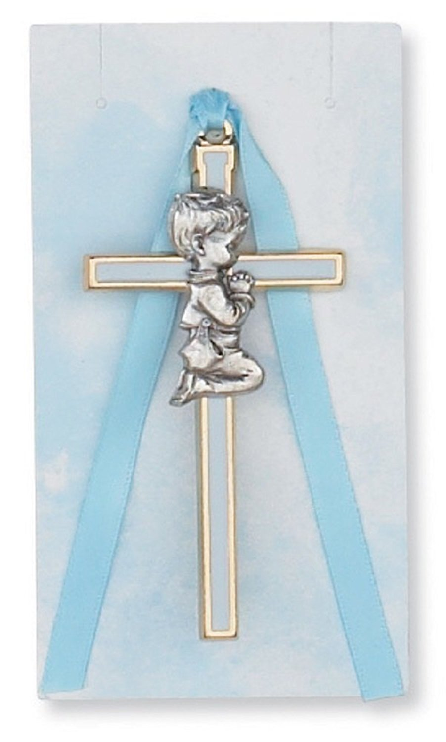 """Religious 3 3/4"""" Blue Boy Cross Baby Cross, Crucifix, Wall Cross, Crib Medal. Great for Christening or Baptism."""