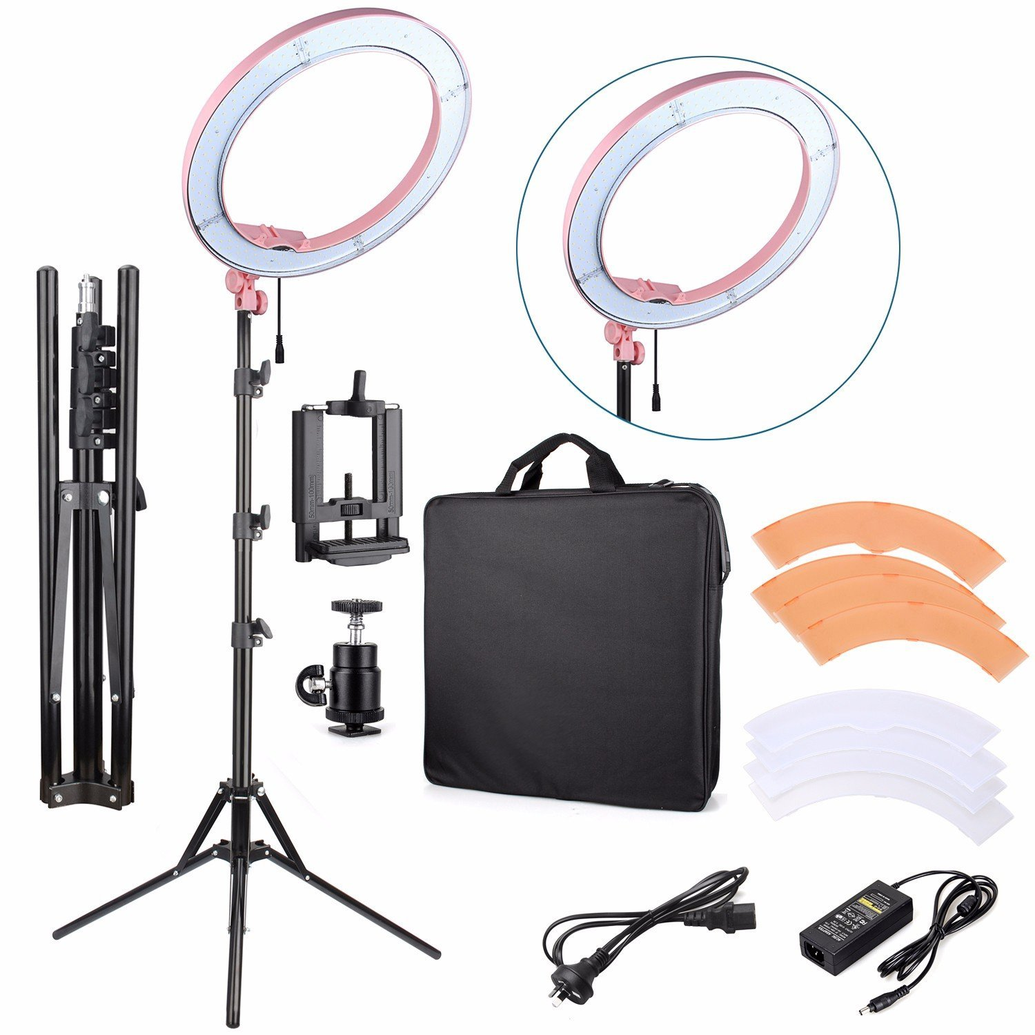 """EACHSHOT ES240 Kit {Including Light, Stand, Phone Clamp, Tripod Head }240 LED 18"""" Stepless Adjustable Ring Light Camera Photo/Video Portrait photography 5500K Dimmable (Light Stand Included) -Pink"""