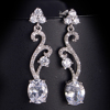 pave setting zircon inlaid chain earring with pendant