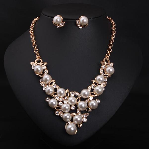 Wholesale Fashion Jewelry Set Pearl Rhinestone Necklace