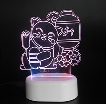 OEM design Acryl led licht basis cartoon induktion kinder nacht licht