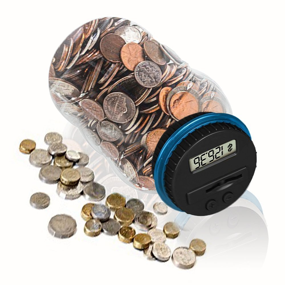 HeQiao Digital Money Bank Large LCD Money Jar Battery Operated Coin Bank US Dollar Coins Savings Box for Office Home Kids Children Adults (Auto Counting) (Black/Blue)