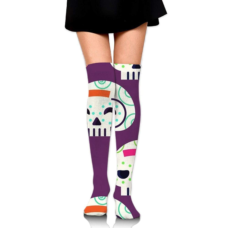 Zaqxsw Skull Happy Women Fashion Thigh High Socks Long Socks For Ladies