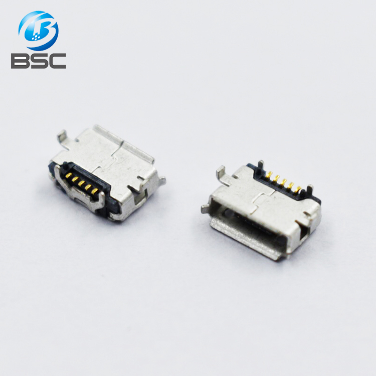 Connector factory B type Micro USB female socket USB connector Phone jack connector, outside horn 4feet DIP 5P Flat mouth