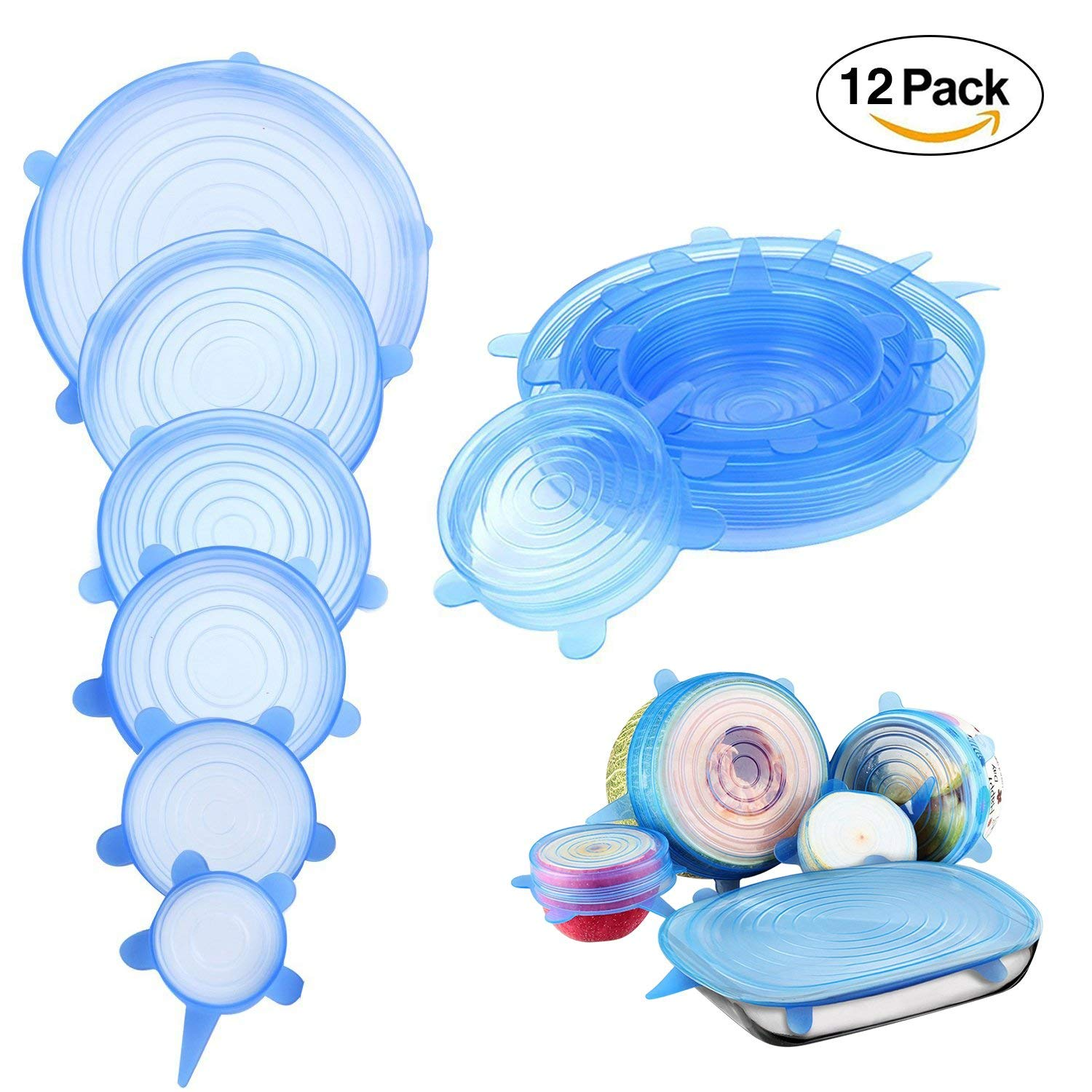 Silicone Stretch Lids, Reusable Food Covers Bowl Cover Lids for Any Cans, Cups, Bowl - Pack of 6Pcs or 12Pcs (6Pcs,Transparent color)(12Pcs,Transparent color)(6Pcs,Blue)(12Pcs,Blue)