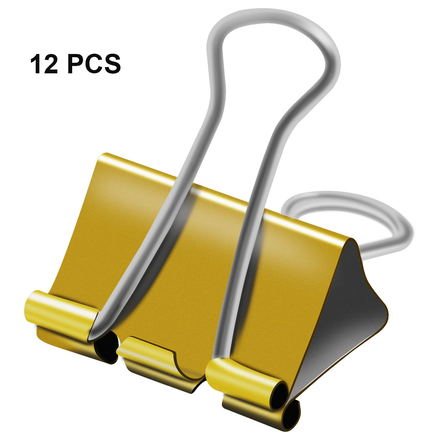 Gold Medium Metal Binder Clips of 1-1/4 inch, Colored paper clamp, Assorted Sizes assortment, For Office School Fold back clip, etc. 0.75 / 1.25 / 2 in (1.25 inch / 32 mm (Gold), 12 PCS (Gold))