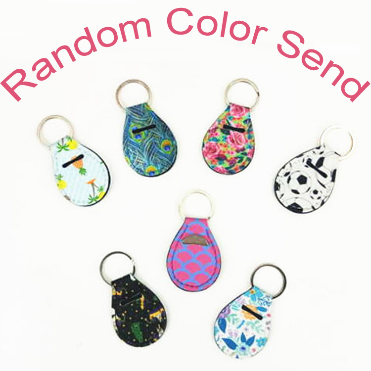 MOQ 100pcs Coin Holder Chapstick Keychain Floral Print with Metal Ring Keyfob Random Color Send Amazon Hot sale