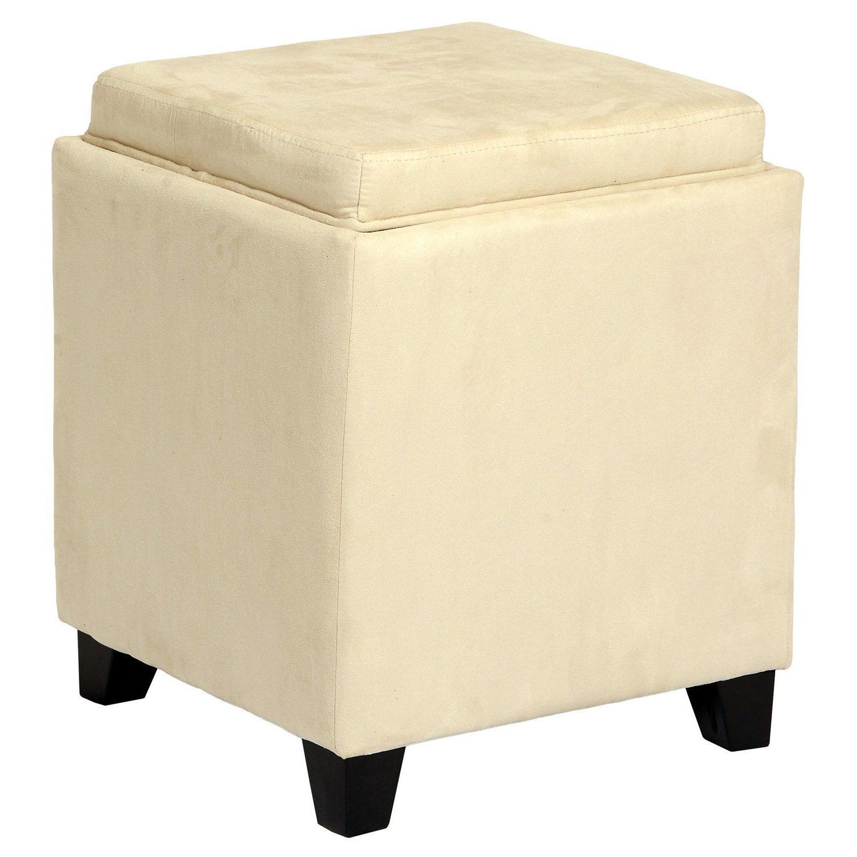 Get Quotations Single Piece Cream Square Shape Storage Ottoman Solid Pattern Foam Microfiber Material Contemporary