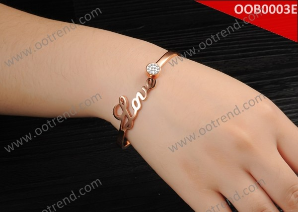IP plated rose gold love design stainless steel bangle ,hot sales stainless steel bangle jewelry