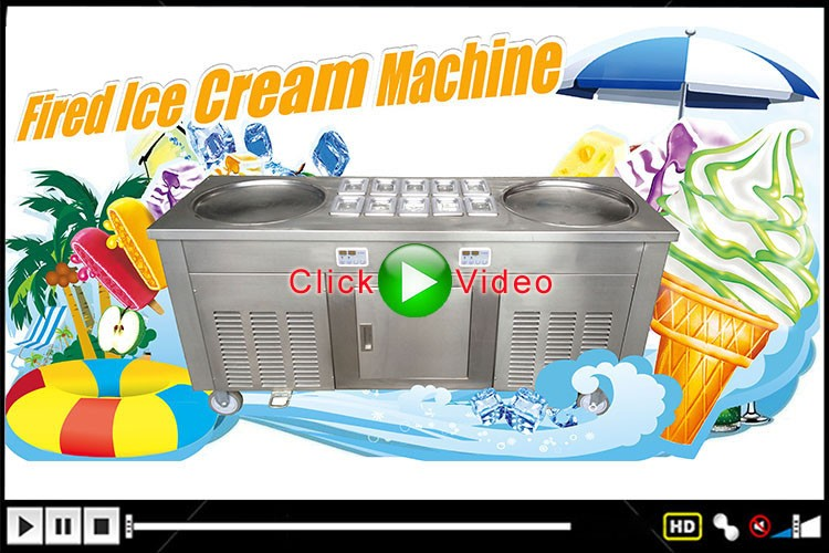 Single Pan Thailand Roll Fried Ice Cream Machine Ice Cream Cold Plate Fry Ice Cream Machine