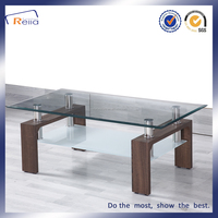 Modern Home Furniture Living Room MDF Coffee Table with Glass Top