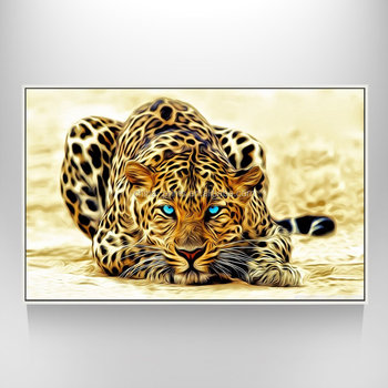 Floater Photo Framed Leopard Canvas Wall Art Abstract Leopard Print ...