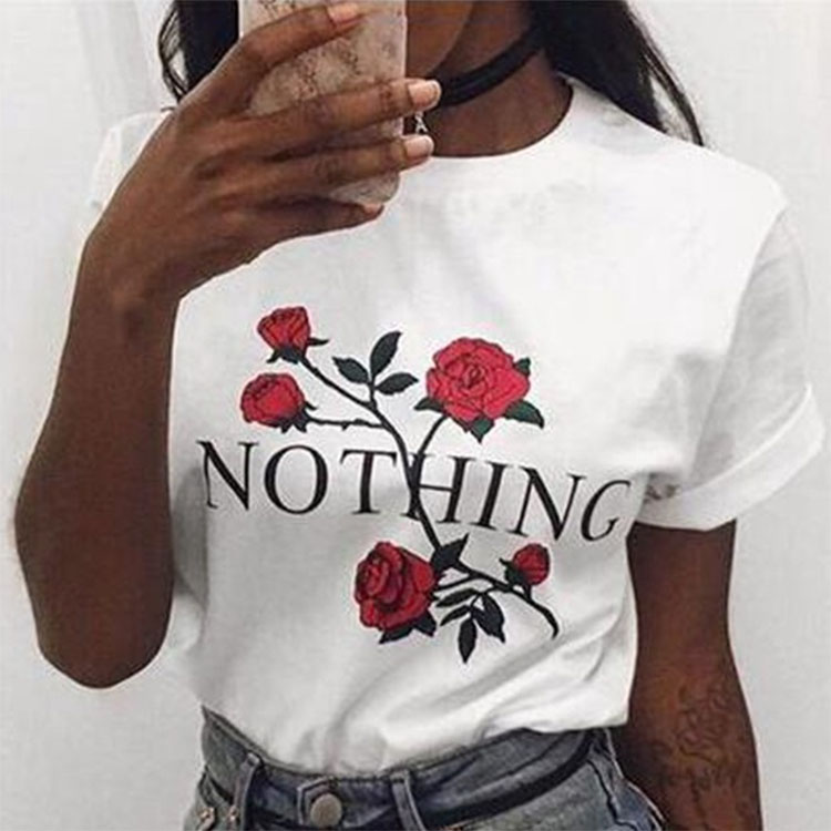 Rose Print Female T Shirt Women 2018 New Summer Short Sleeve Casual Clothing Punk Tee Tops bangladesh t-shirts фото