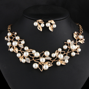 2017 Amazon hot sale product cheap pearl jewelry set with loose leaf for women