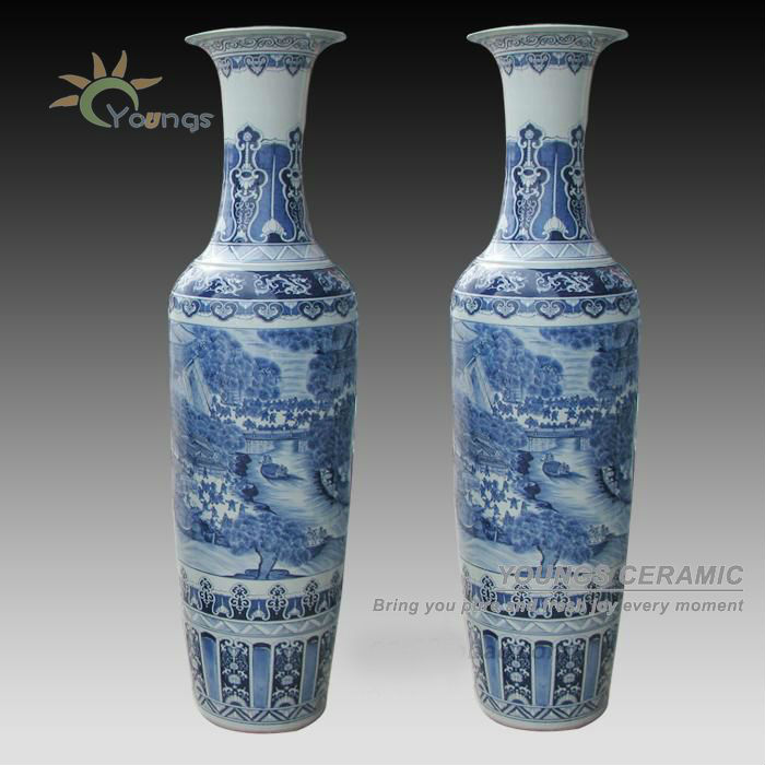 De Lujo 6ft Alto Chino Antiguo Porcelana Pintada A Mano