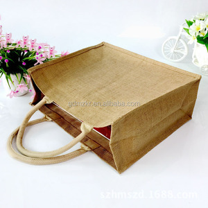 Cheap wholesales high quality reusable plain jute burlap tote bag wine women gift shopping bag