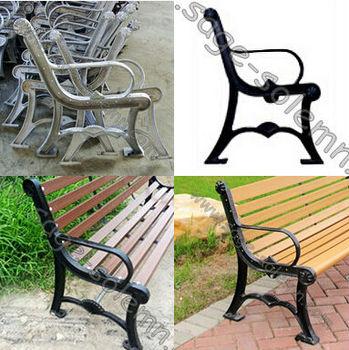 Yard Patio Garden Outdoor Park Bench Wooden Seat Chair Furniture Cast Iron Legs