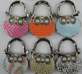 Owl Purse Hanger With Pearl For Eyes, Metal Laday Table Foldable Bag Hangers