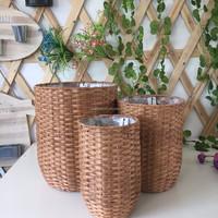 indoor gardening classic round PE rattan basket with plastic liner