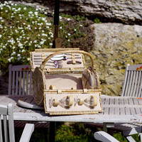 Natural Hand-woven Willow Wicker Picnic Basket Hamper Cane Basket