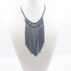 italian blue light up heavy chain bold necklace jewelry