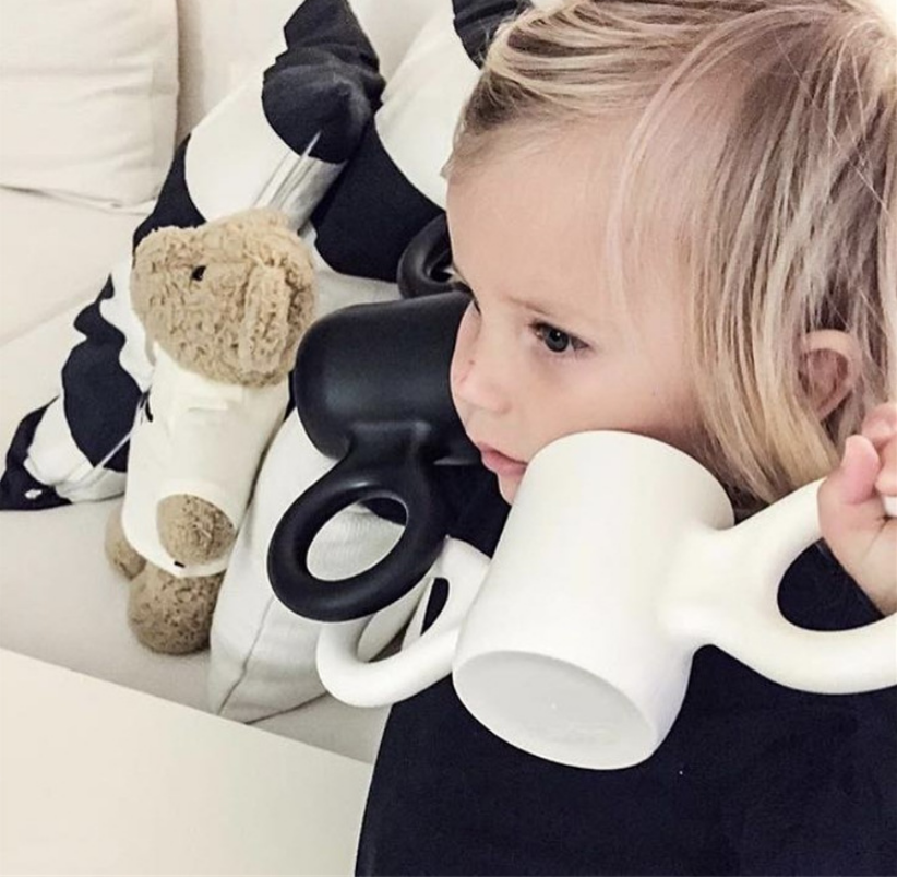 environmental protection candy color Resin Big Ears Style Cute Baby Children Water Milk Drinking Training Cup with two handles