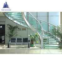 High quality curved stair modern home decor glass wooden floating staircase