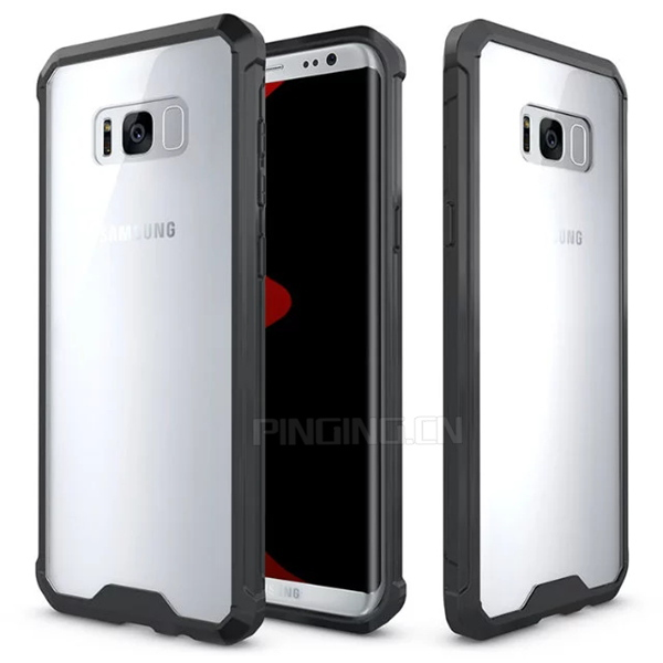 PC + TPU hybrid transparent armor case for samsung s8 plus clear cover