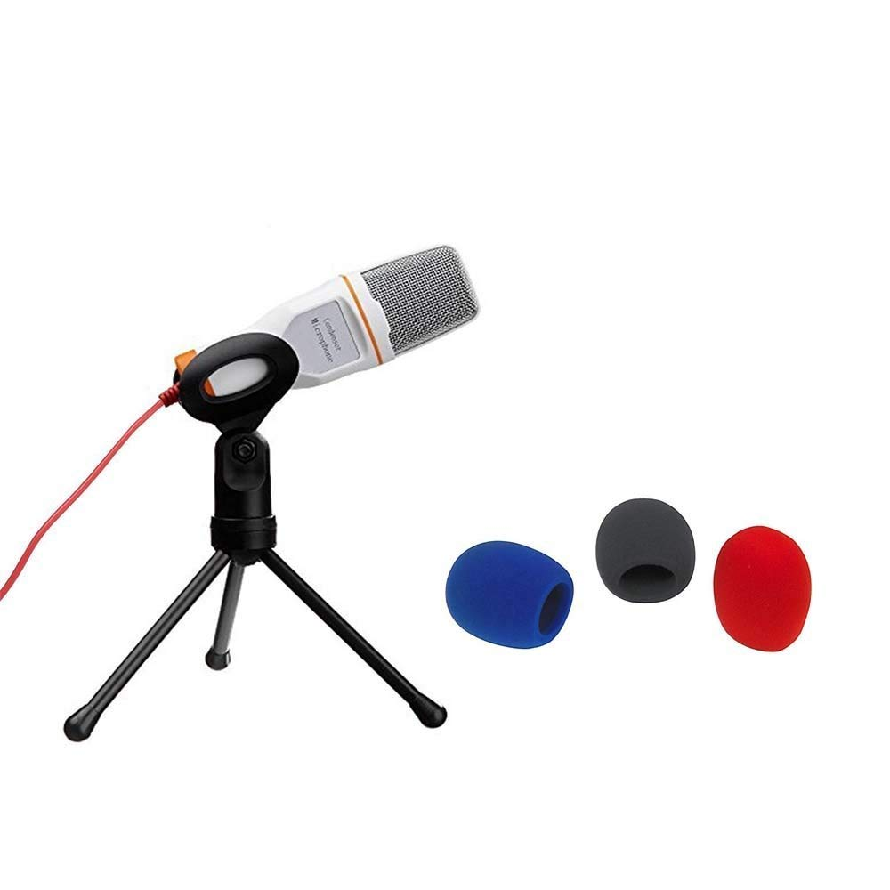 Solidrock® Professional Condenser Sound Podcast Studio Microphone For PC Laptop Computer+ 3pcs Handheld Stage Microphone Windscreen Foam Cover (Red, Black, Blue)
