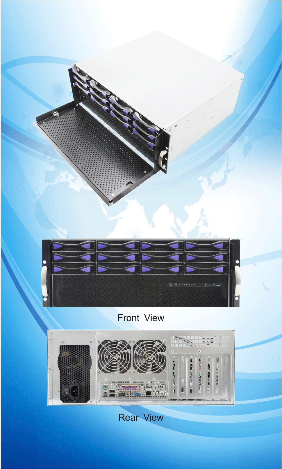 ED412H40 4u 12 bays 19 inch rack mount chassis mini server chassis