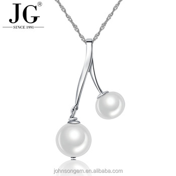 Latest two pearl necklace simple design925 sterling silver real latest two pearl necklace simple design 925 sterling silver real natural freshwater pearls pendant platinum aloadofball Image collections