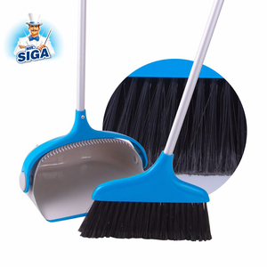 Mr.SIGA Plastic Household Items Cleaning Rubber Folding Broom And Dustpan Set