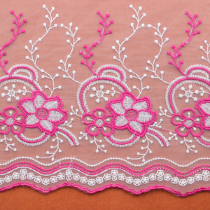 High Quality Mesh 3D Flower Tulle Lace Fabric Garment Embroidery Lace