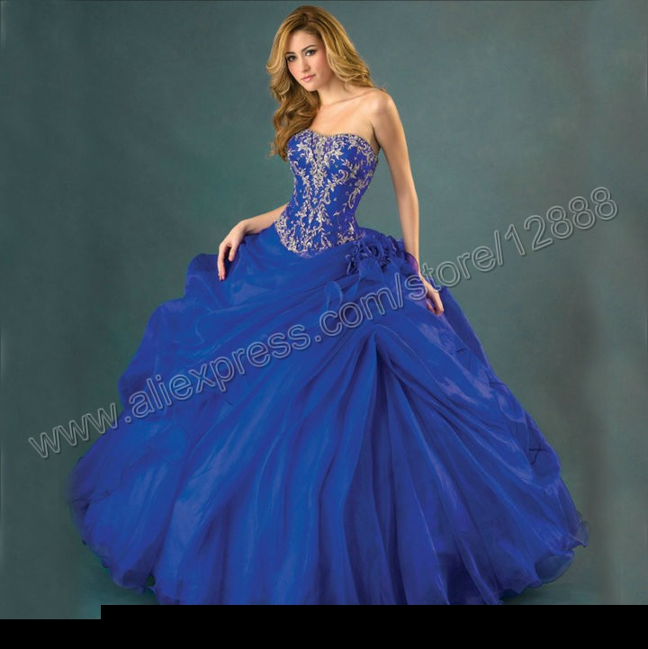 Silver-Embroidery-Ball-Gown-Royal-Blue-Organza-Free ...