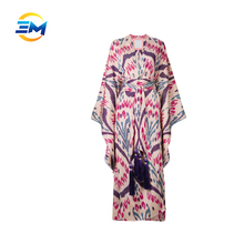 Custom long wide sleeve deep v neck wrap 100% silk tie waist long dresses women lady saree dress