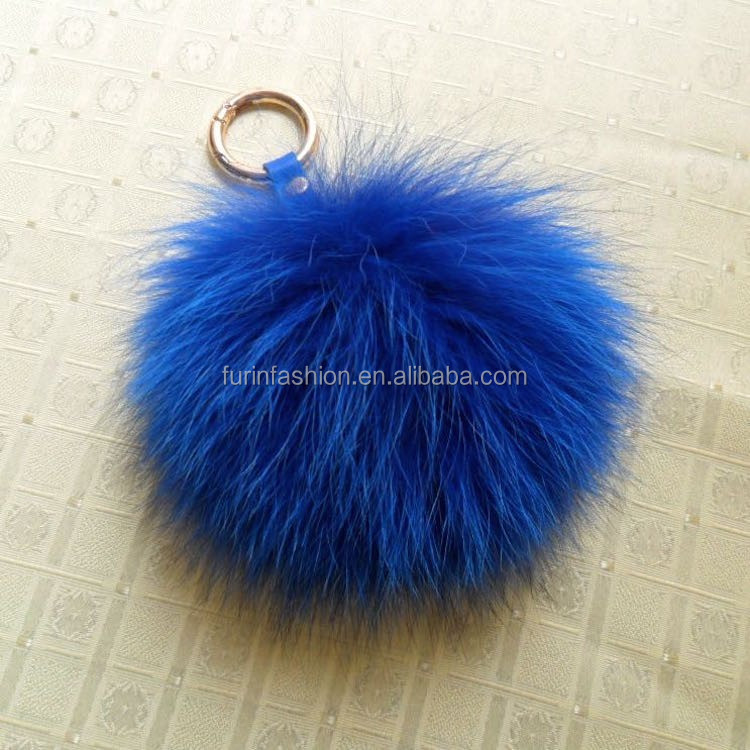 2017/2018 Fluffy 13cm Colorful Fox Fur Pom Poms for Beanie Hats/with Keychain