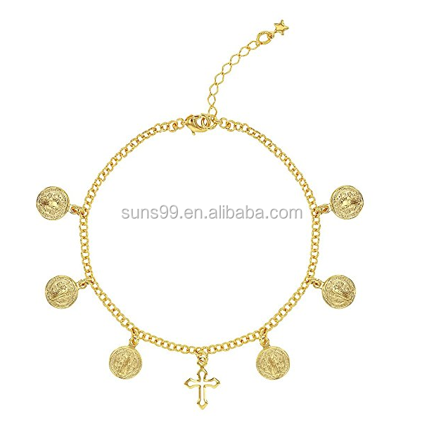 316L Stainless Steel 18k Gold Plated St Benedict Medal Bracelet For Ladies Adjustable