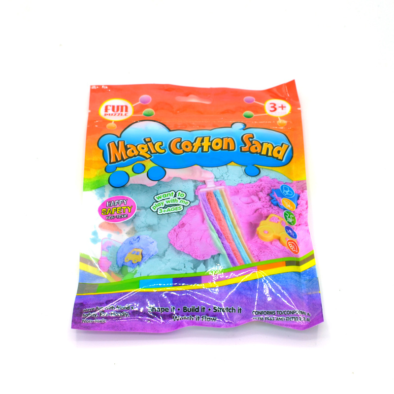 Yiwu Bobao factory supply funny cheap 150g plastic bag packing EN71/ASTM safe kids students DIY magic stretchy cotton sand