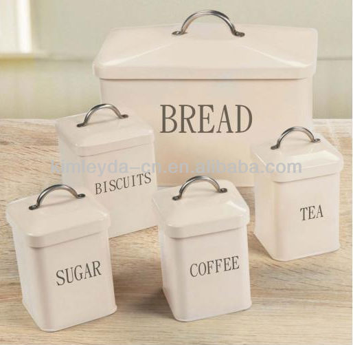 Set Of 5 Tea Coffee Sugar Biscuits Containers And Bread Bin With Handle