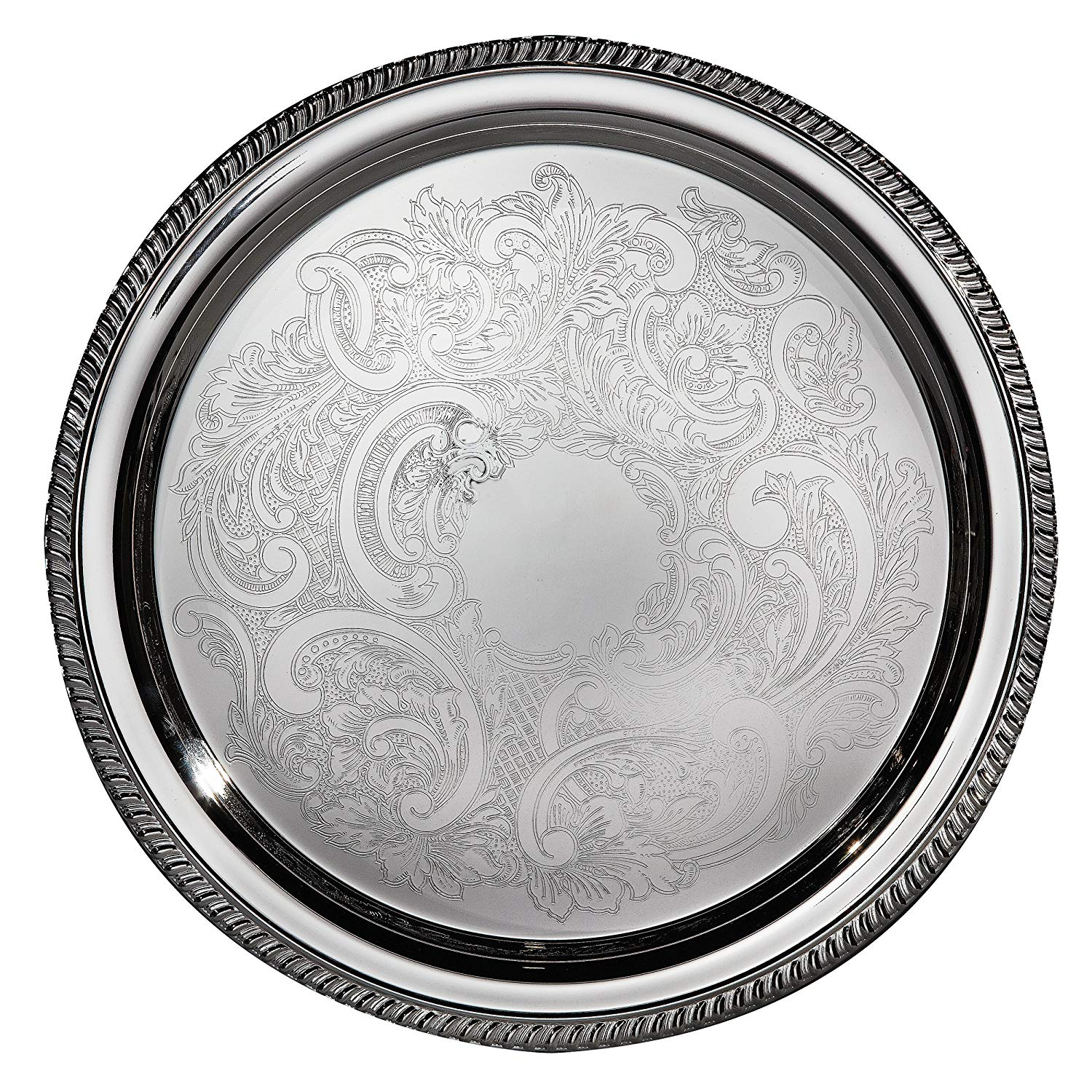 """Elegance Silver 8235 Hotel Collection Round Silver Plated Tray, 16"""""""