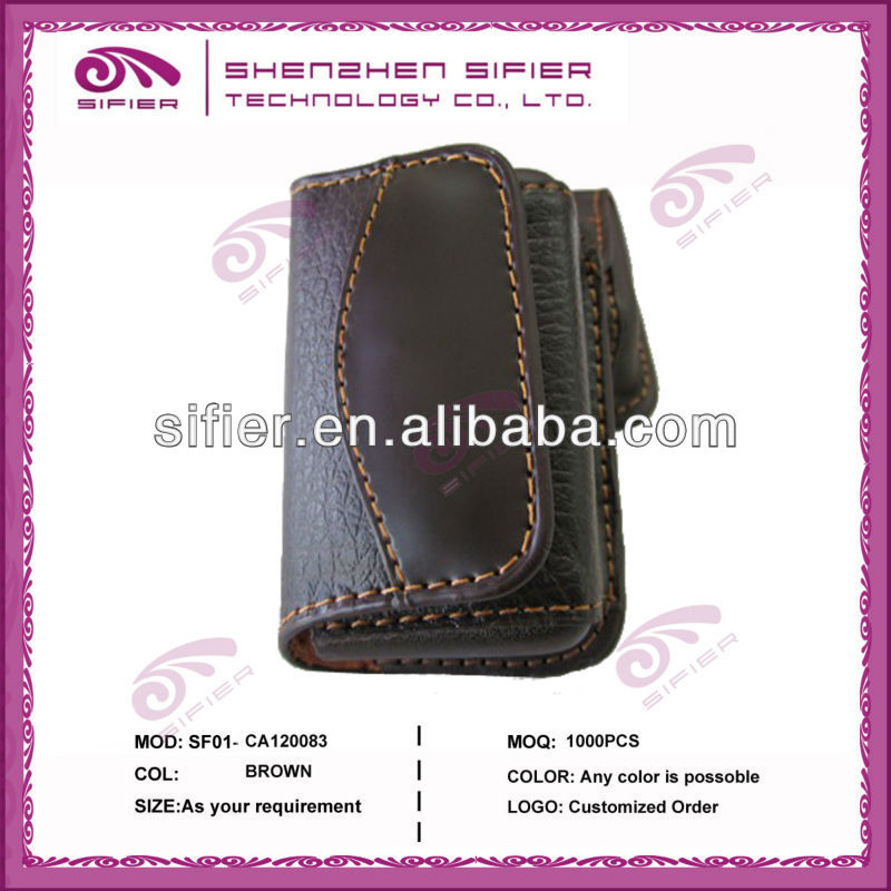 Leather Brown Foldable Eye Glasses Case For Man