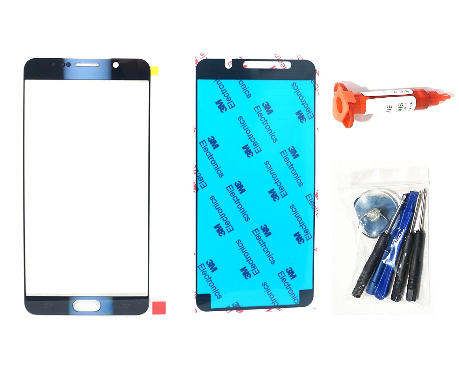 (md0410) Black Sapphire Blue Front Outer Lens Glass Replacement Compatible for Galaxy Note 5 N9200 N920 + Adhesive + Tools (LCD Touch Screen & Digitizer not Included)