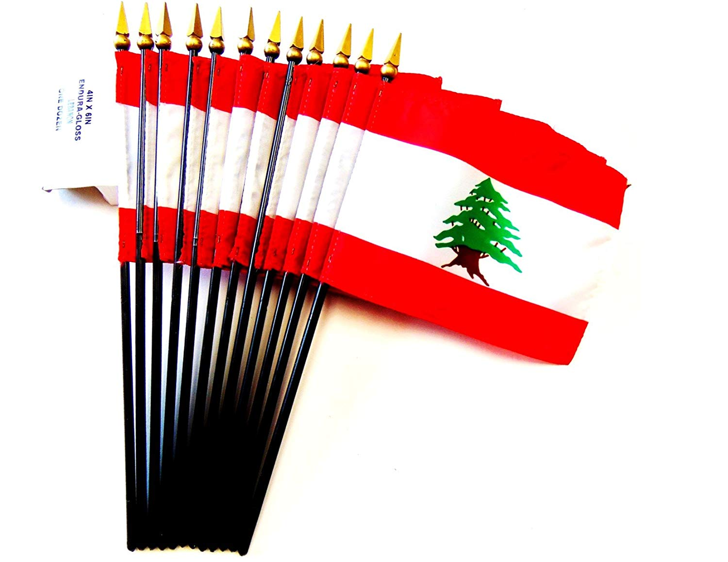 """MADE IN USA!! Box of 12 Lebanon 4""""x6"""" Miniature Desk & Table Flags; 12 American Made Small Mini Lebanese Flags in a Custom Made Cardboard Box Specifically Made for These Flags"""