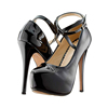 New designer factory wholesaling buckle strap stiletto women black glitter high heels women platform shoes