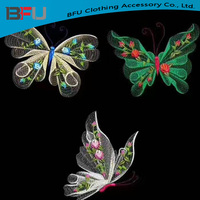 custom new design iron on 3D embroidery patches 3D butterfly fancy butterfly patch
