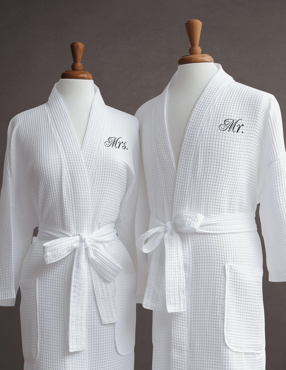 Luxor Linens Egyptian Cotton Mr. & Mrs. Waffle Robes - Perfect Christmas Gifts! - Mr. & Mrs.