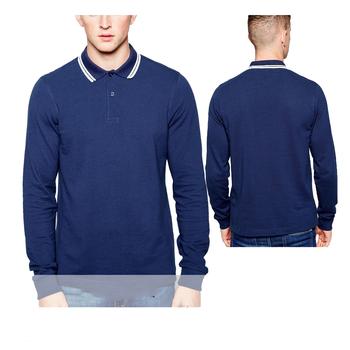 ae45747a new design Navy blue custom polo shirt men embroidery neck long sleeve mens polo  shirts