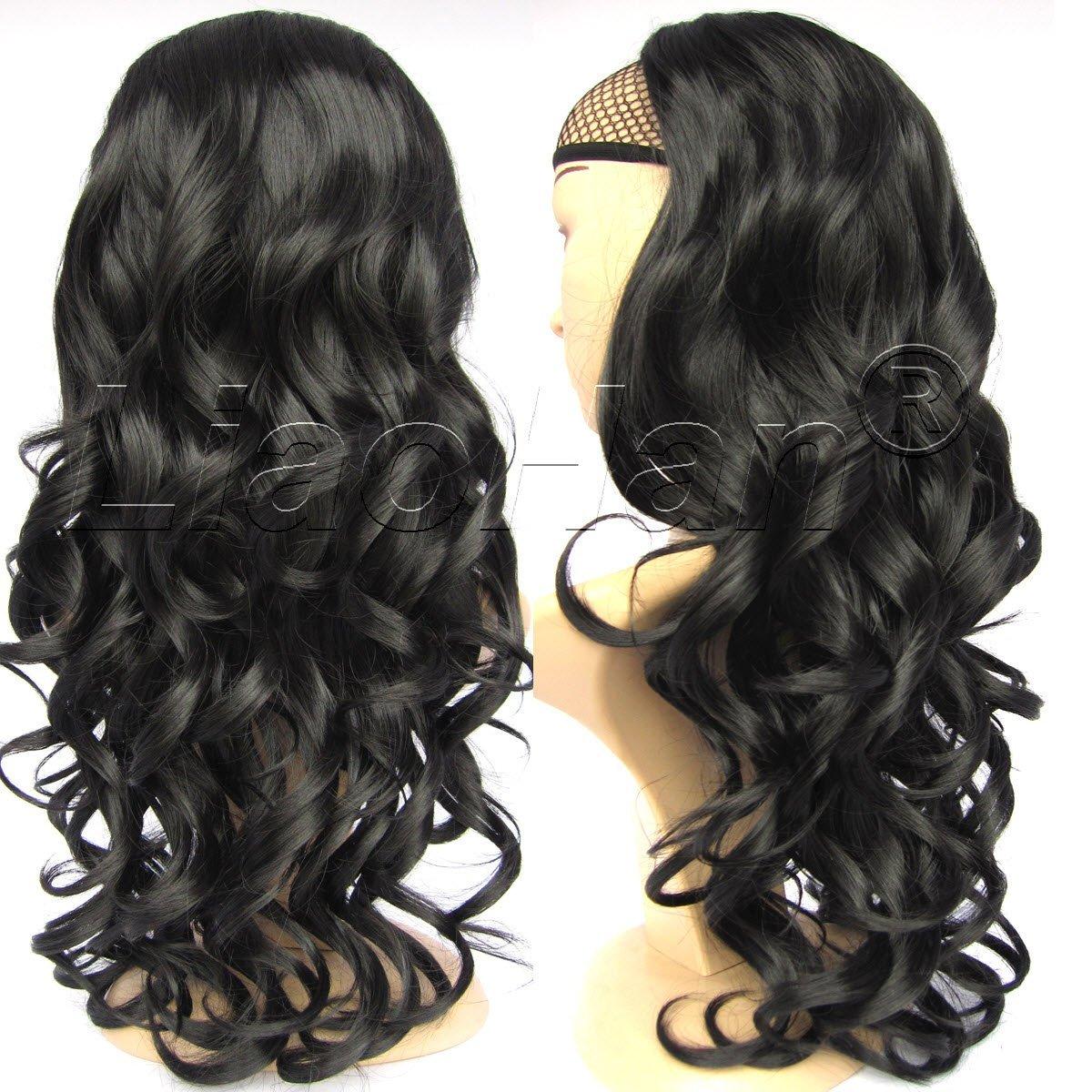 Liaohan® Fashion Half Wig Hair Fall Black Color Long Curly Wig Fall Curly Hair Wigs for Women #1B Black Wig
